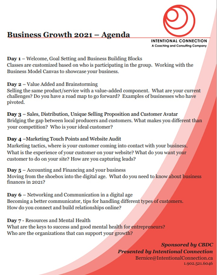 Business Growth 2021  -Thursday 6 - 9 pm 7 weeks 21 hours image