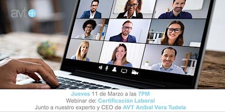 Webinar de Certificación Laboral boletos