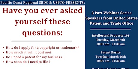PCR SBDC & USPTO  Intellectual Property 101 tickets