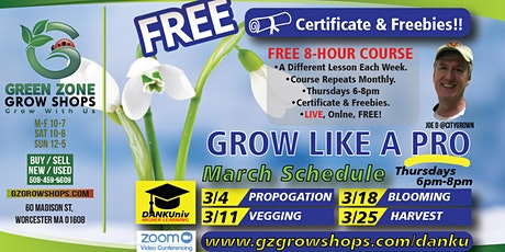 Grow Like a Pro **Harvest/Cure** FREE Workshops! tickets