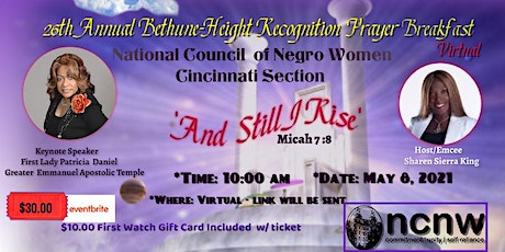 Cincinnati Section NCNW 26th Annual Bethune Height Prayer Breakfast entradas