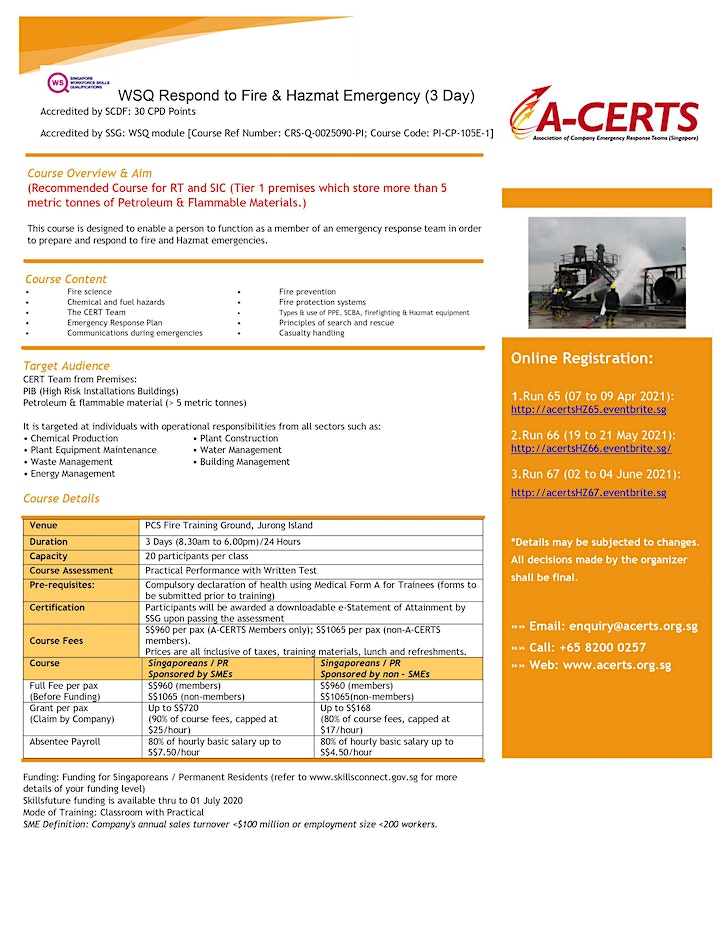 A-CERTS Training: WSQ Response to Fire and Hazmat Emergency (3 Day) Run 65 image