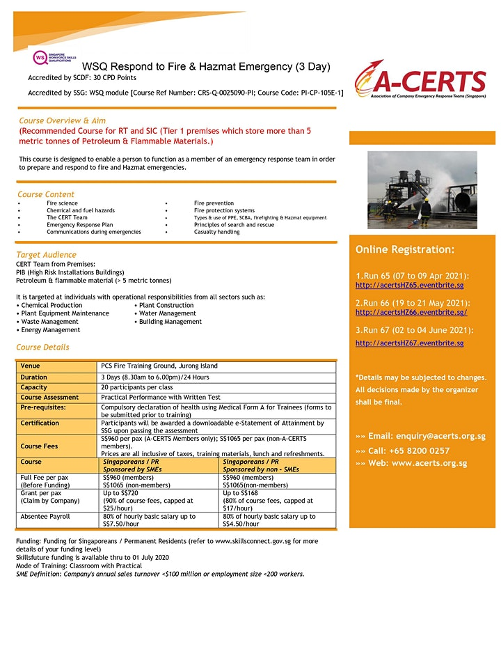 A-CERTS Training: WSQ Response to Fire and Hazmat Emergency (3 Day) Run 67 image