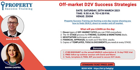 Off market, direct-to-vendor success strategy TRAINING. tickets