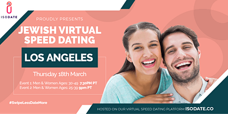 Isodate's Los Angeles Jewish Virtual Speed Dating - Swipe Less, Date More tickets