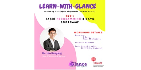 LEARN WITH GLANCE: BASIC PROGRAMMING 3 DAYS BOOTCAMP (MARCH/APRIL) tickets