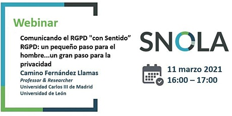 """Webinar SNOLA:  Comunicando el RGPD """"con Sentido"""" entradas"""