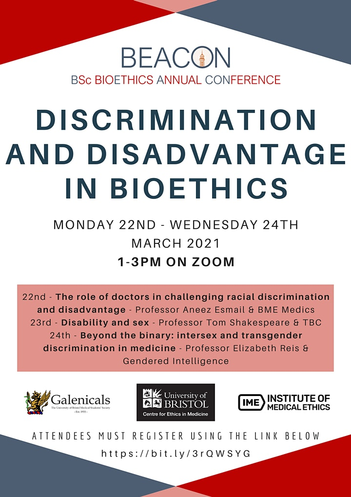 Discrimination and Disadvantage in Bioethics Online Conference image