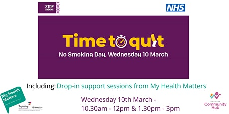 National No Smoking Day 2021 - Drop-in support sessions - My Health Matter tickets