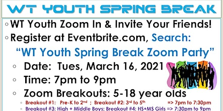 WT Youth Spring Break Zoom Party tickets