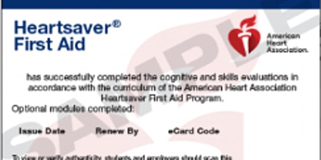 Heart Saver First Aid eCard: ADAMS HEALTH NETWORK INSTRUCTORS ONLY tickets