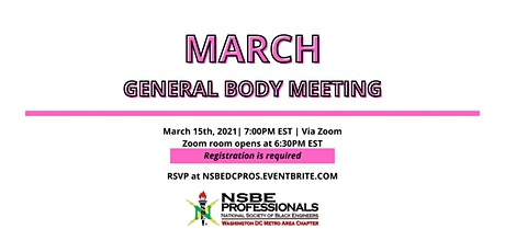 NSBE DC March 2021Virtual General Body Meeting tickets