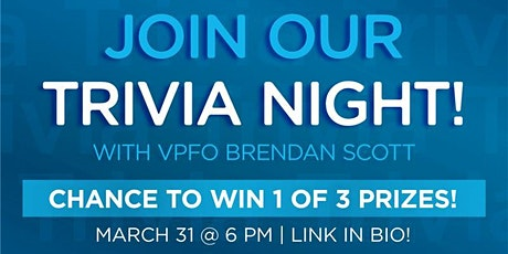 Trivia Night & Prizes with VPFO Brendan Scott! (Animation Movie Characters) tickets