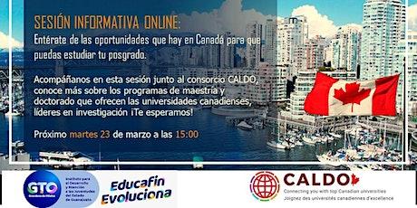 Sesión informativa online - Posgrados en Canadá con CALDO boletos