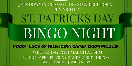 St Patrick's Day Bingo Night with the Downey Chamber of Commerce tickets