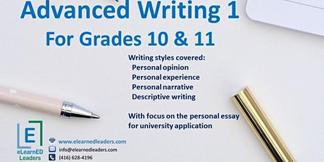 Advanced Writing I for Grades 10-11 (6 sessions) tickets
