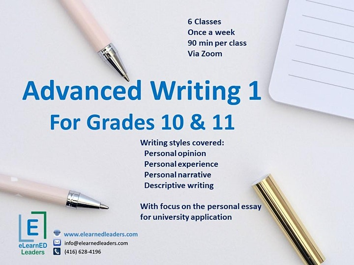 Advanced Writing I for Grades 10-11 (6 sessions) image