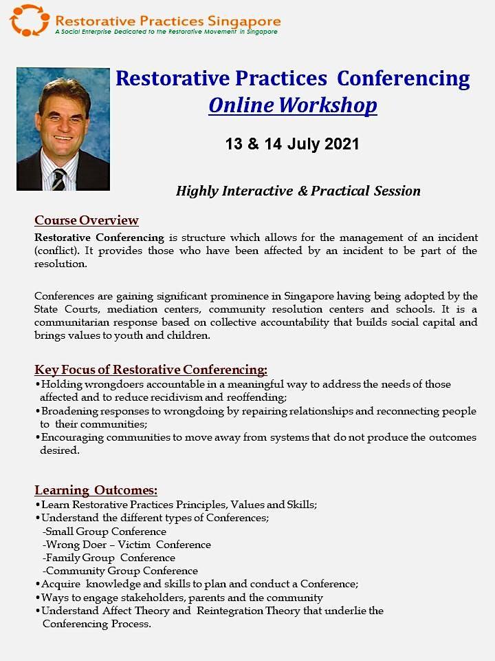 Restorative Practices  Conferencing  Online Workshop by David Vinegrad image