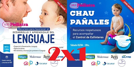 2x1 talleres► Desarrollo del LENGUAJE + CHAU PAÑAL (Vivo + Grabado) boletos