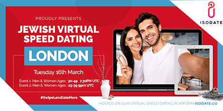Isodate's London Jewish Virtual Speed Dating - Swipe Less, Date More tickets