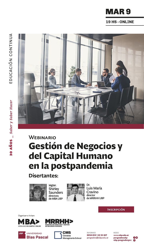 Imagen de Webinario> Gestión de Negocios y del Capital Humano en la postpandemia
