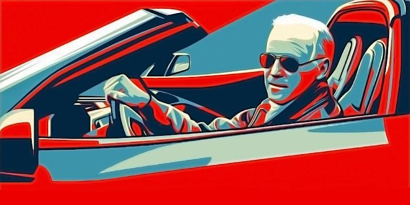 Illustration of Joe Biden behind the wheel of a convertible.