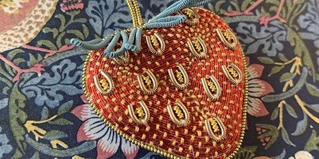 Metal thread embroidery course with Becky Hogg: Strawberry tickets