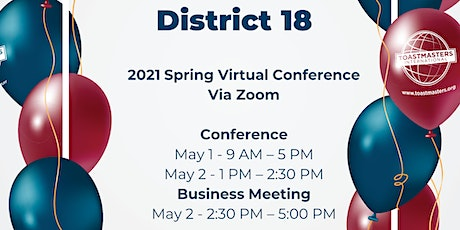 2021 District 18 Toastmasters Spring Virtual Conference tickets