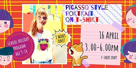 PICASSO STYLE PORTRAIT T-SHIRT - school holidays fun workshop tickets