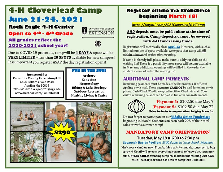 4-H Cloverleaf Camp at Rock Eagle (Grades 4-6 - $290) image