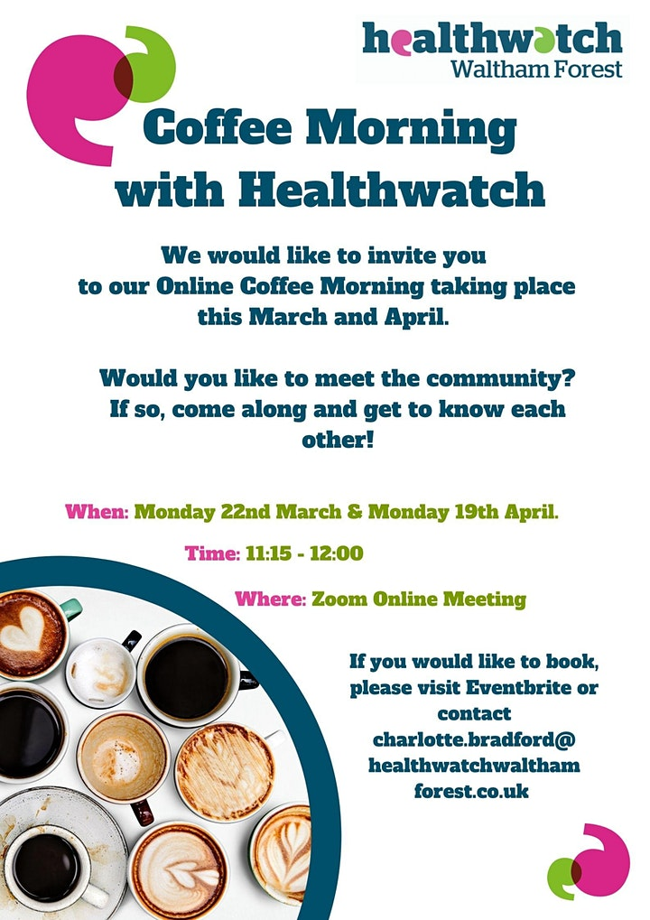 Healthwatch Waltham Forest Online Coffee Meeting image