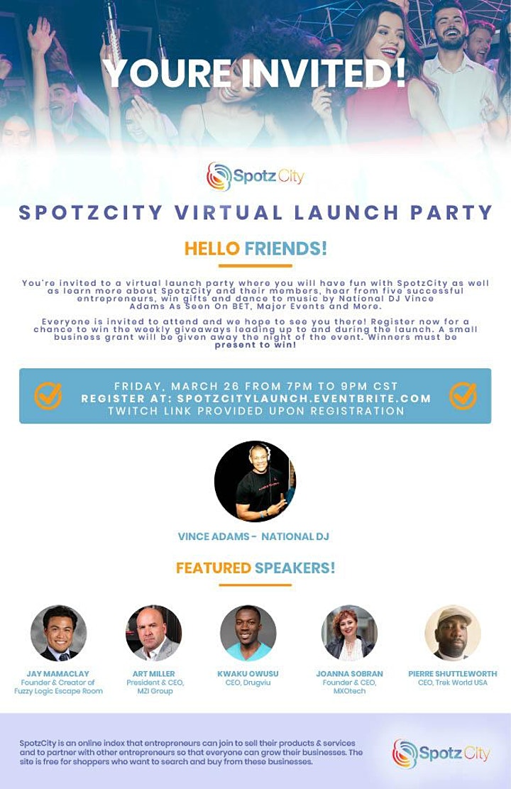 Join SpotzCity for it's virtual business launch party! image