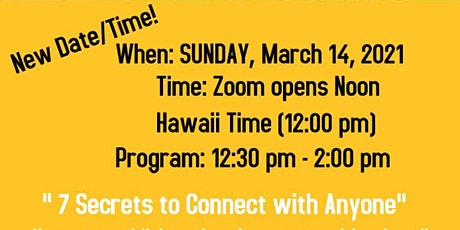 DATE changed! Sheryl Roush,  Accredited Speaker in Hawaii via Zoom 3.14.21 tickets