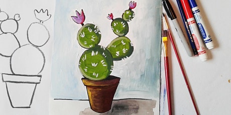 Online Watercolors Art Class for Teens and Adults, Painting Cactus Vase tickets
