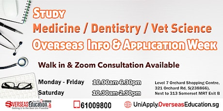 Study Medicine / Dentistry / VET Science Overseas Info & Appln Week tickets