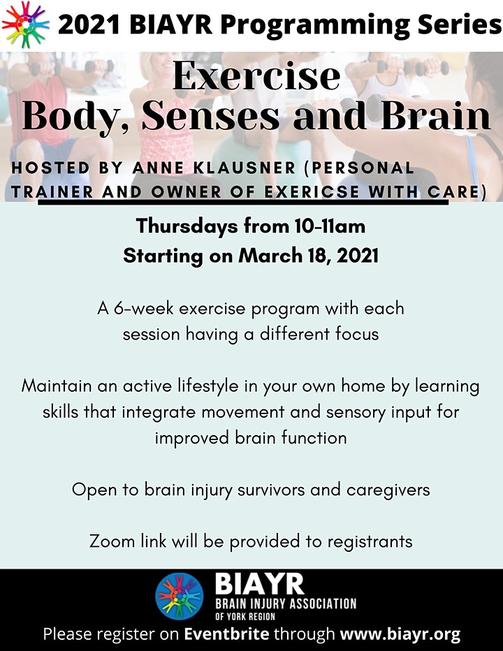Exercise Body, Senses and Brain - 2021 BIAYR Programming Series image