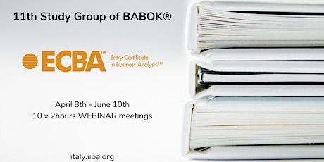 Gruppo di Studio (GdS) 2021 per la certificazioni IIBA ECBA biglietti