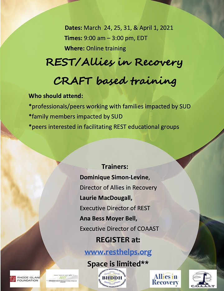 REST/Allies in Recovery CRAFT based training, March 24, 25, 31, & April 1 image