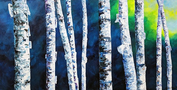 Acrylic Painting - Birch Trees with Kelly Maw - Evening image