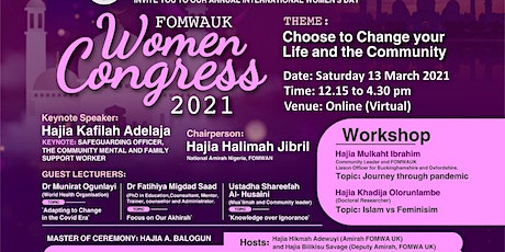 FOMWA UK Women's Congress 2021 in Celebration of International Women's Day. tickets