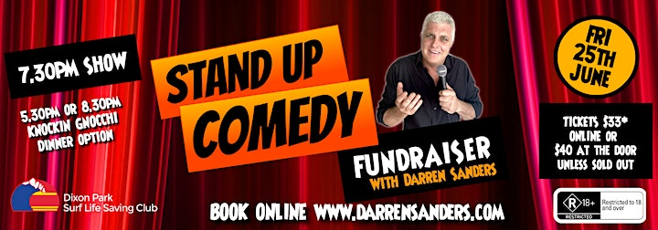 8.30pm Dinner Comedy Fundraiser at Dixon Park SLSC with Darren Sanders image