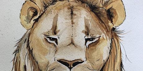 Online Watercolour Art Class -  Lion tickets