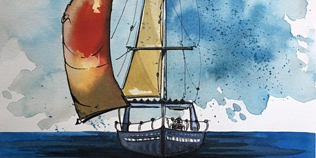 Online Watercolour Art Class -  Sailboat tickets