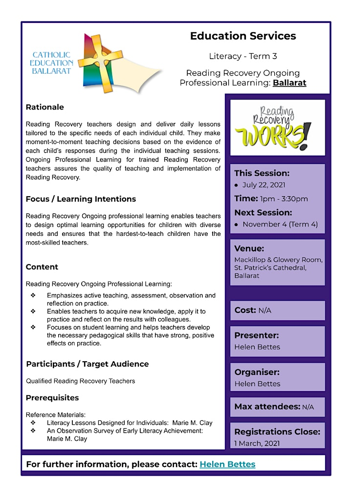 Reading Recovery Ongoing Professional Learning - BALLARAT Term 3 image