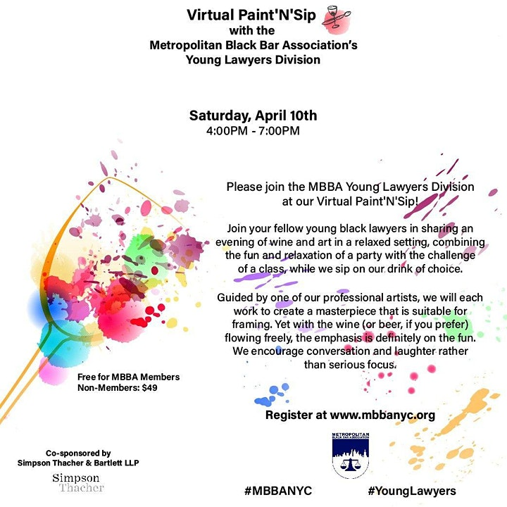 The MBBA's Young Lawyers Division - Virtual Paint'N'Sip image