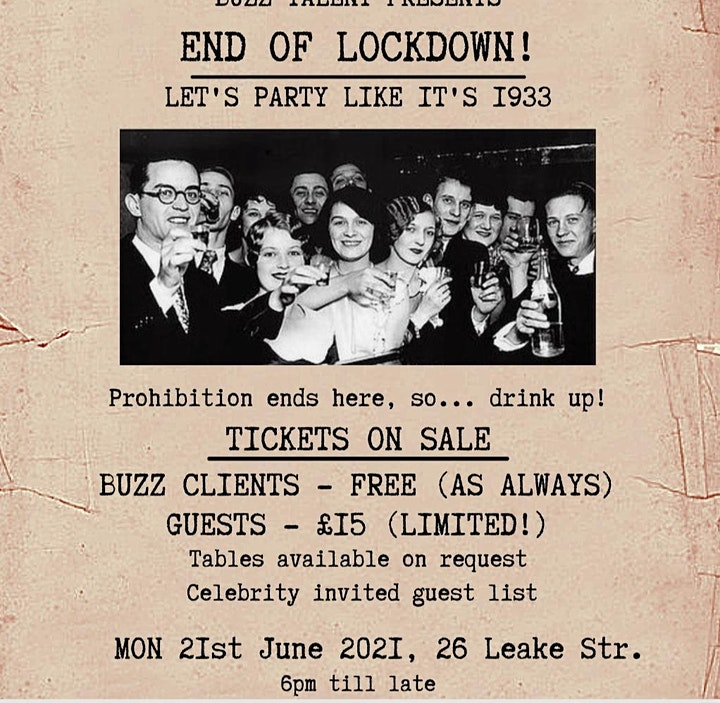 BUZZ TALENT PRESENTS - END OF LOCKDOWN!! - LETS PARTY LIKE  IT'S 1933 image