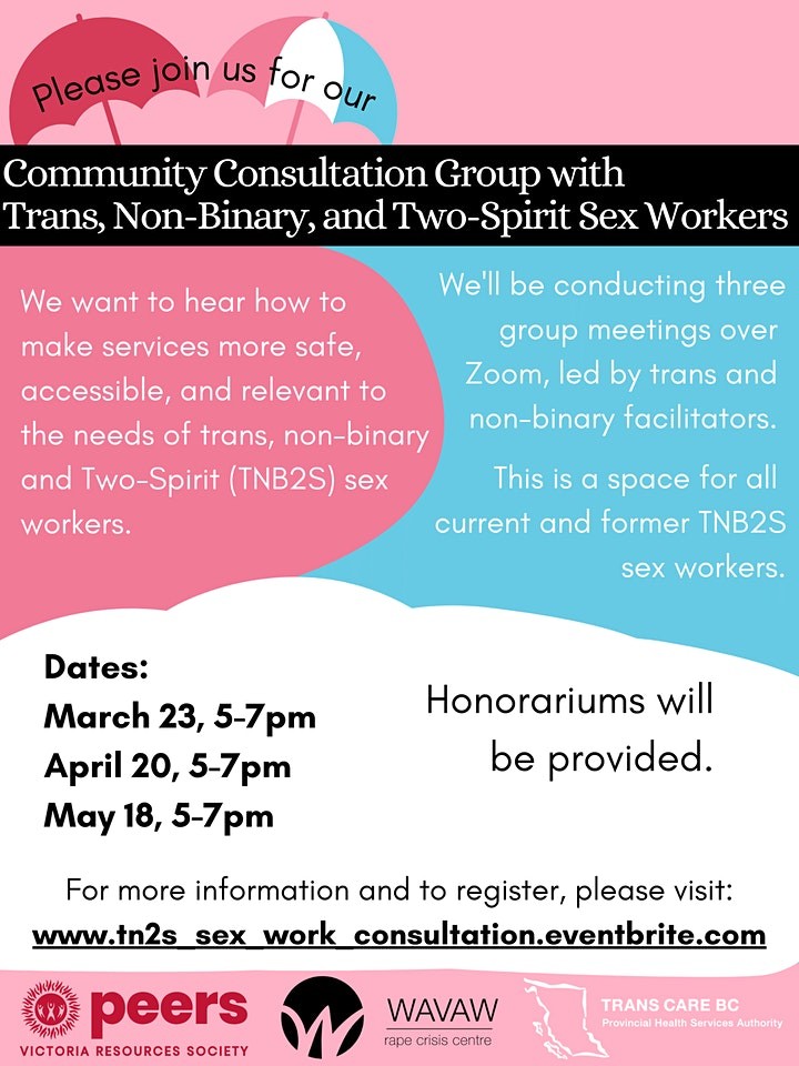 Trans, Non-binary, and Two-Spirit Sex Worker Community Consultation image