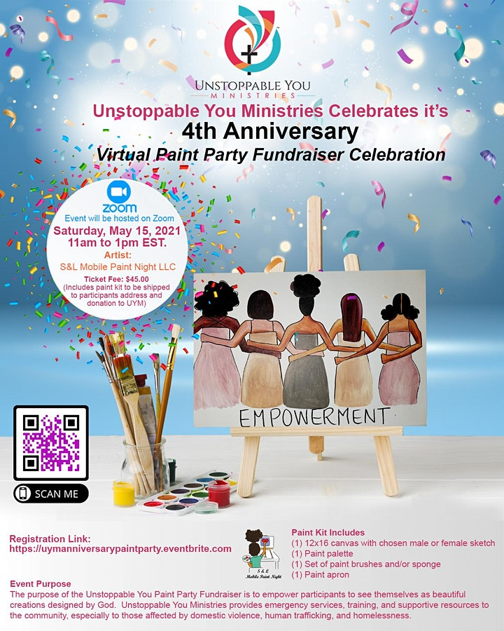 Unstoppable You Ministries, Inc. Virtual Paint Party Fundraiser Celebration image