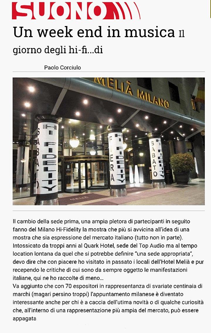 Immagine Milano hi-fidelity aut. 2021, la rassegna più importante hi-end, FREE ENTRY
