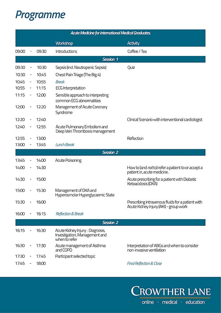 7th Acute Medicine for International Medical Graduates (IMGs) workshop, UK image